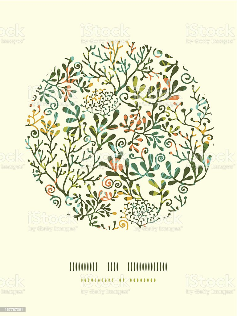 Textured Plants Circle Decor Pattern Background vector art illustration