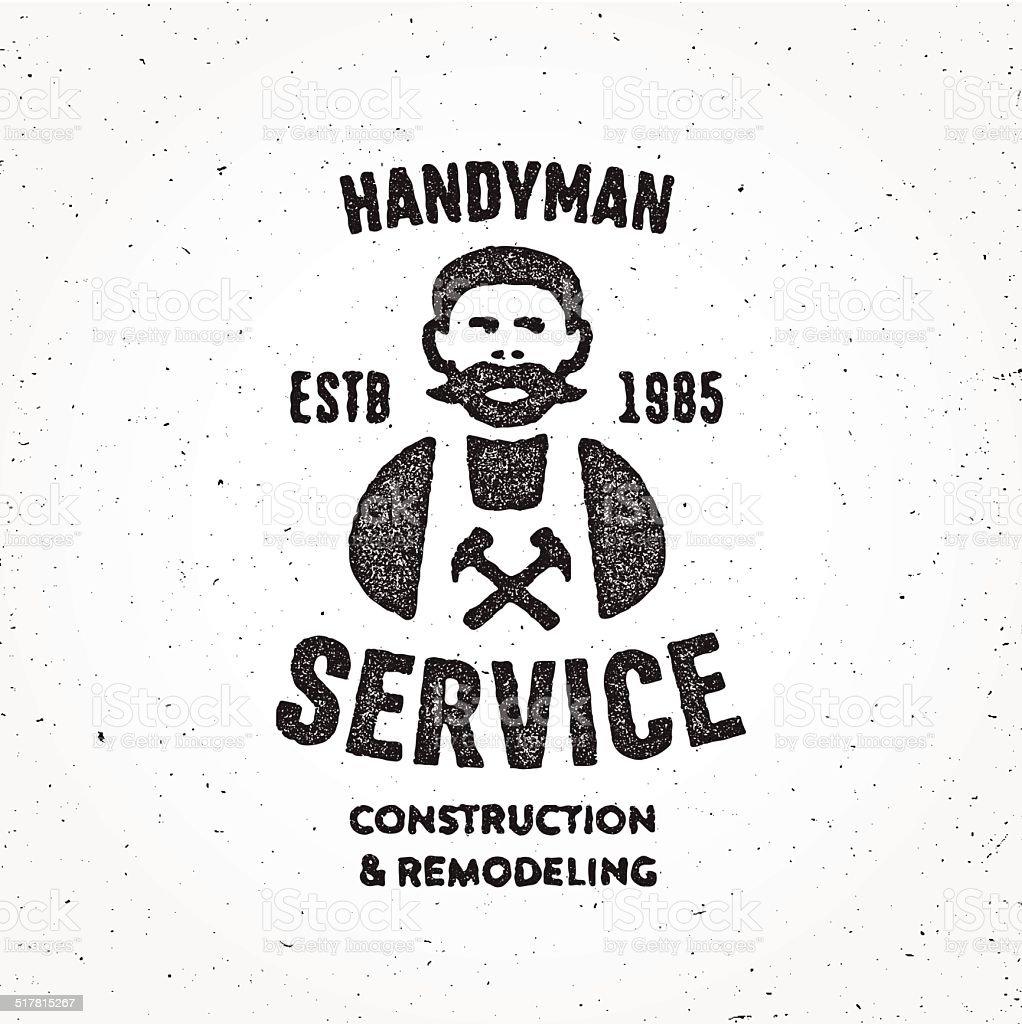 Textured Retro Handyman carpenter corporate service badge symbol vector art illustration