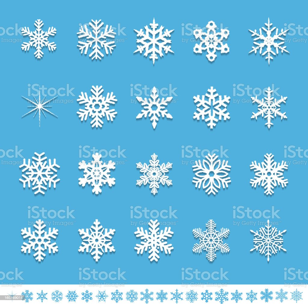 Textured Snowflake icons royalty-free stock vector art