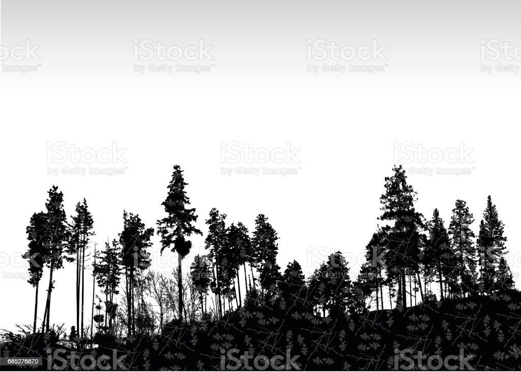 Textured Treeline vector art illustration