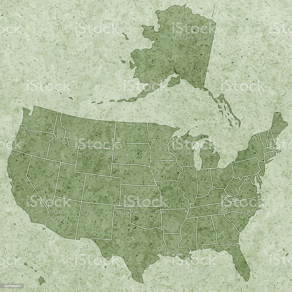 Textured USA map vector art illustration