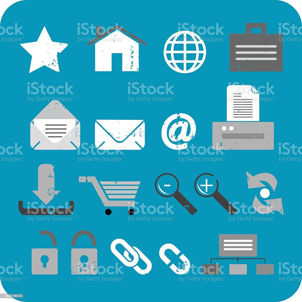 Textured Web Icon Set royalty-free stock vector art