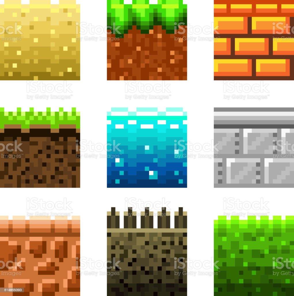 Textures for platformers pixel art vector set vector art illustration