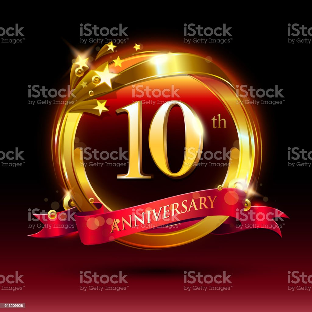 th golden anniversary logo. with ring and red ribbon. vector art illustration