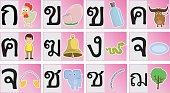 Thai alphabet cartoon Set 1
