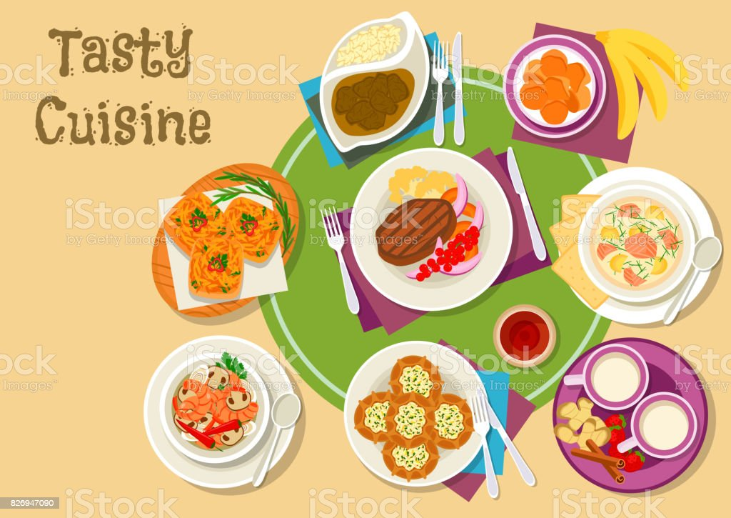 Thai and finnish cuisine dishes with dessert icon vector art illustration