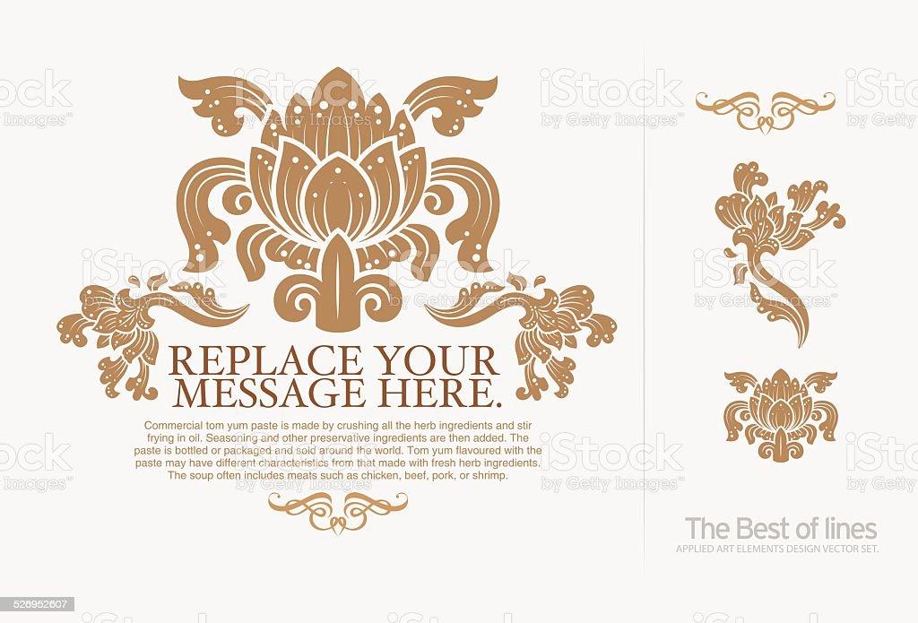 thai art Insignias or Logotypes set. illustrator vector art illustration