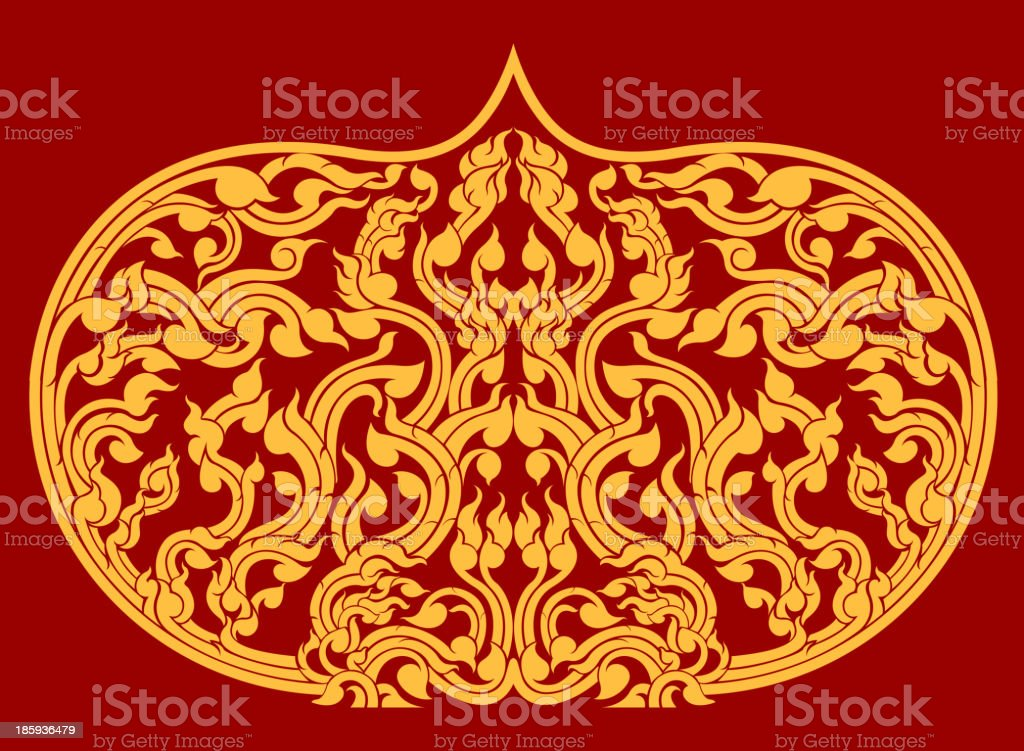 Thai art pattern on red background royalty-free stock vector art