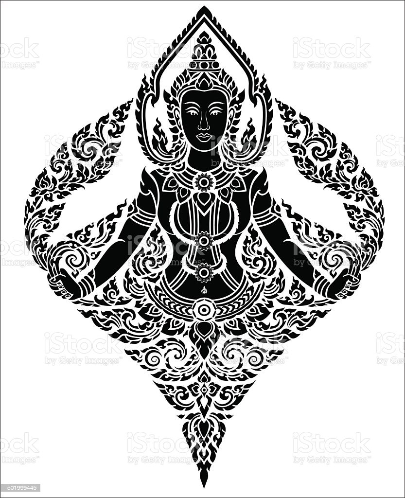Thai arts female angel, vector pattern vector art illustration