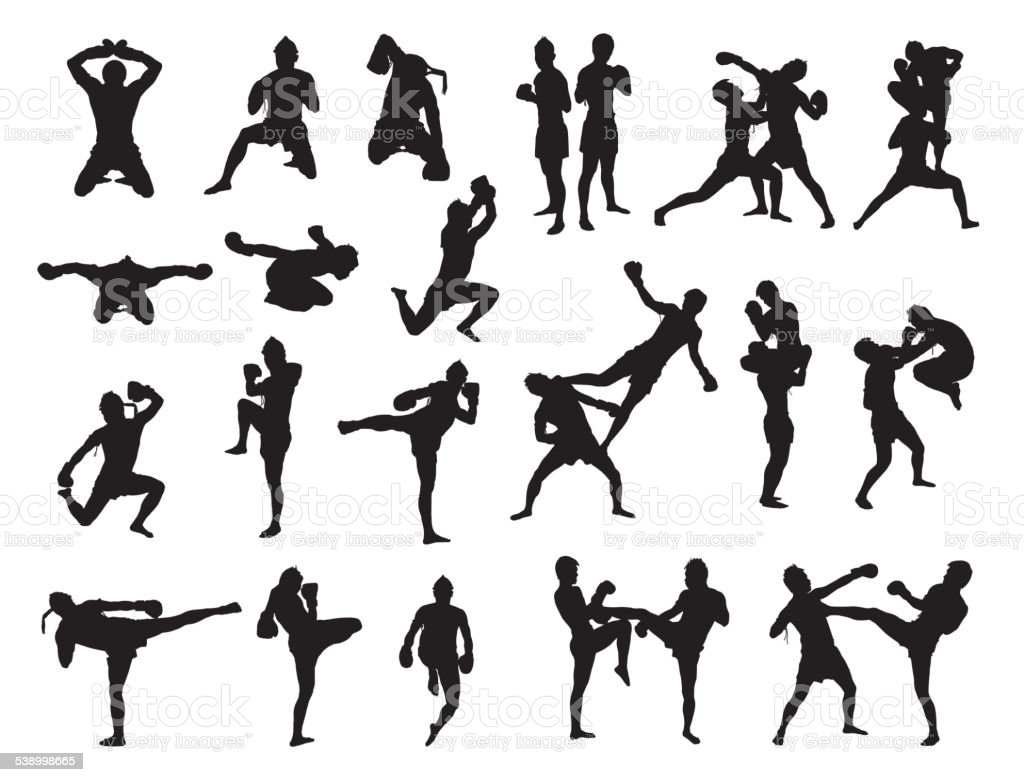 Thai Boxing fight traditional vector art illustration