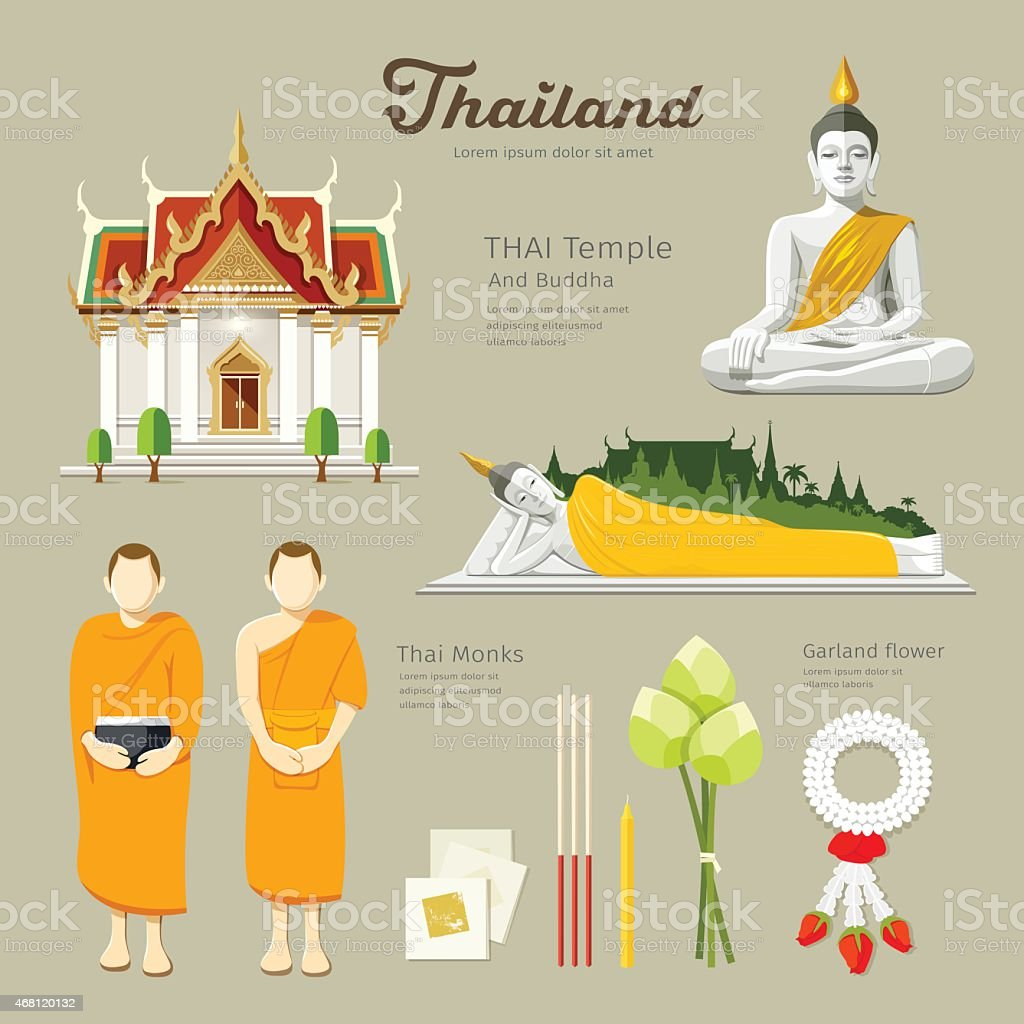 Thai Buddha and Temple with monks in thailand vector art illustration