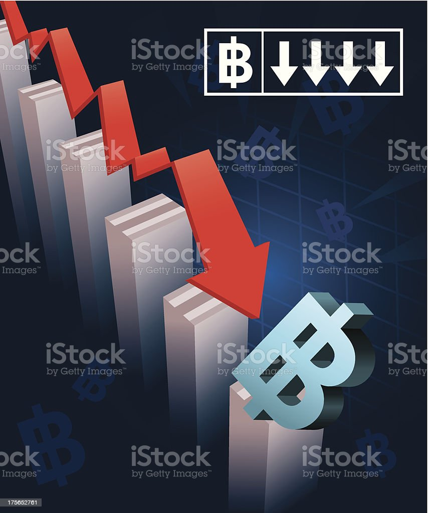 Thai Currency Crash royalty-free stock vector art