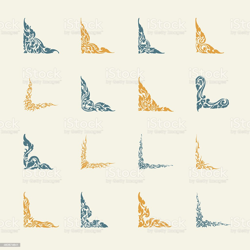 Thai Design Motifs Set 2 - Color Series vector art illustration