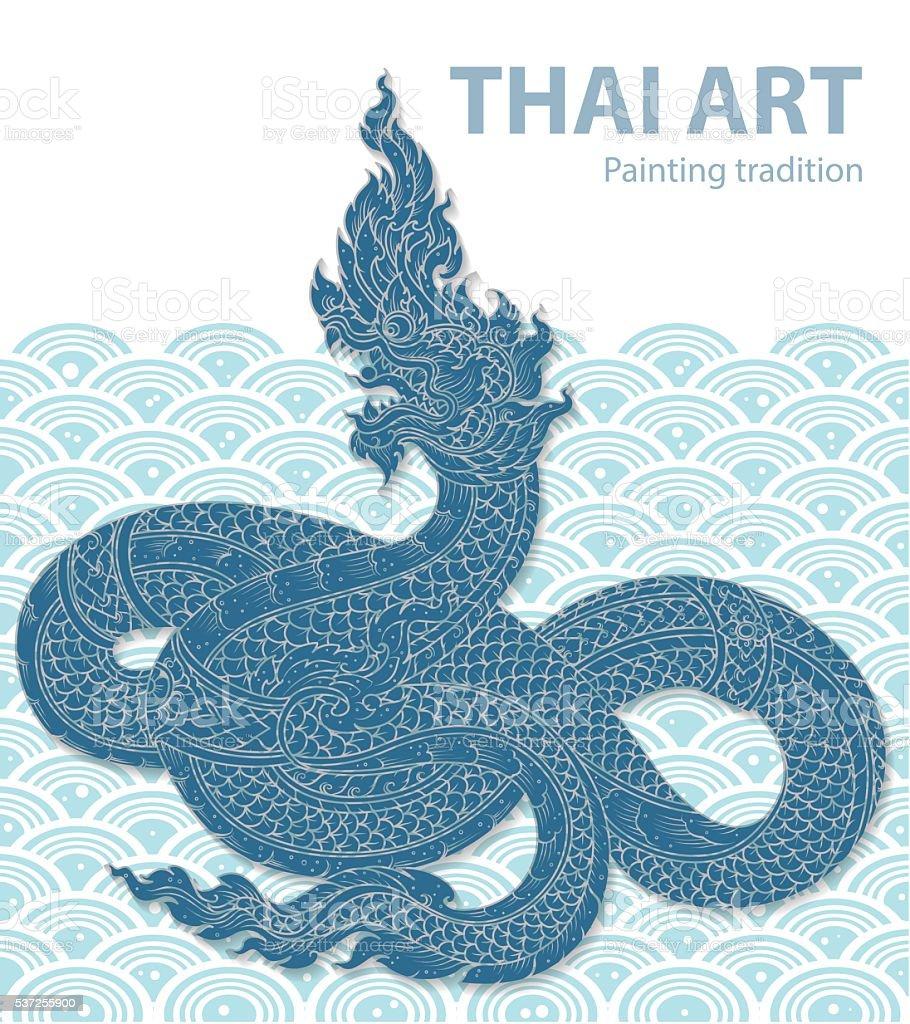 Thai Dragon on water outline vector vector art illustration