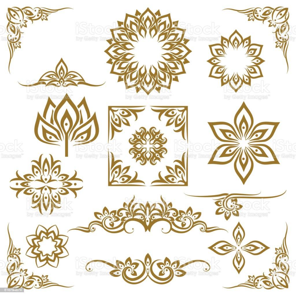 Thai ethnic decorative elements vector vector art illustration