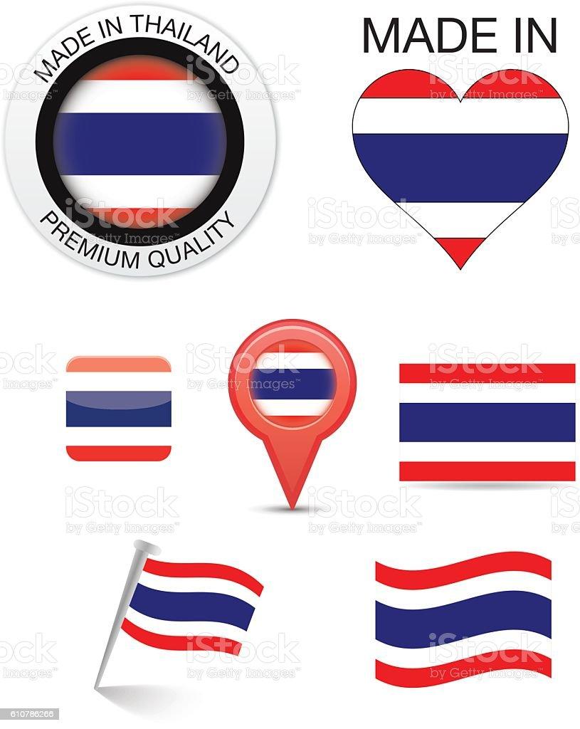 Thai Flag Icons vector art illustration