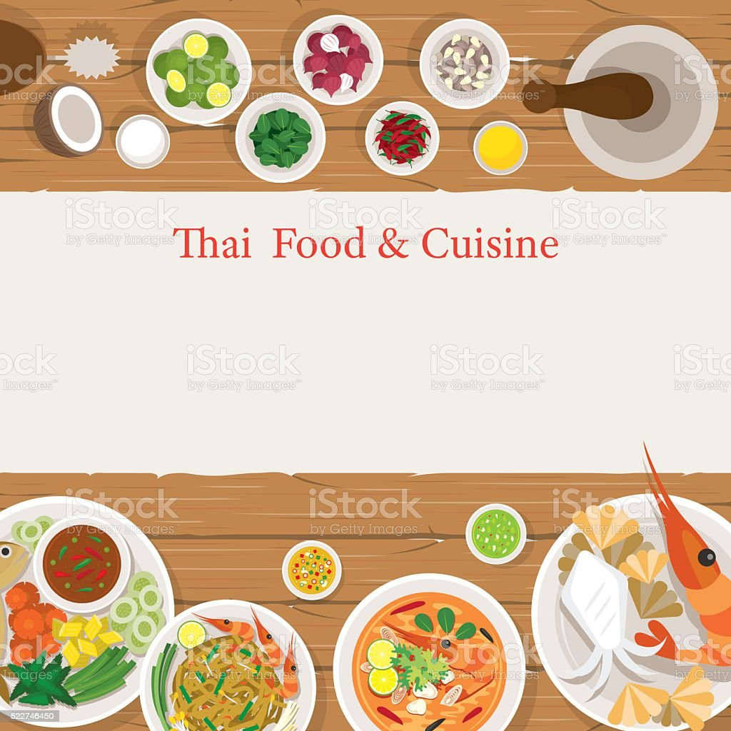 Thai Food and Ingredients Frame vector art illustration