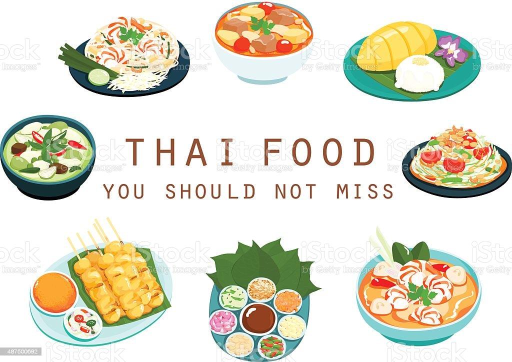 Thai food should not miss vector illustration vector art illustration