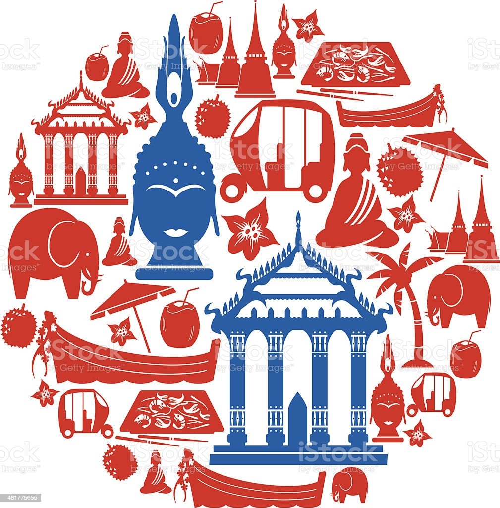 Thai Icon Montage vector art illustration
