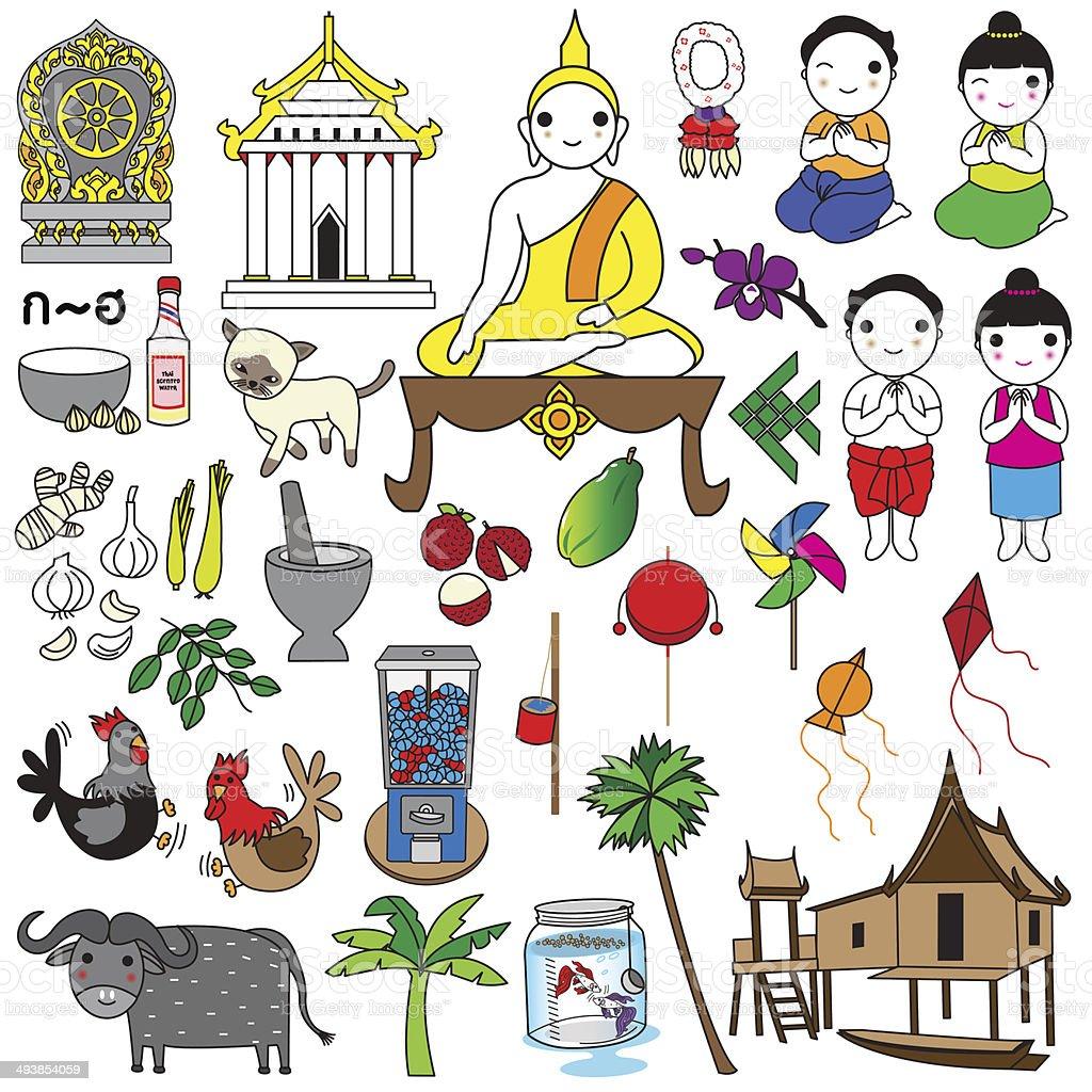 Thai icons and symbols illustration set vector art illustration