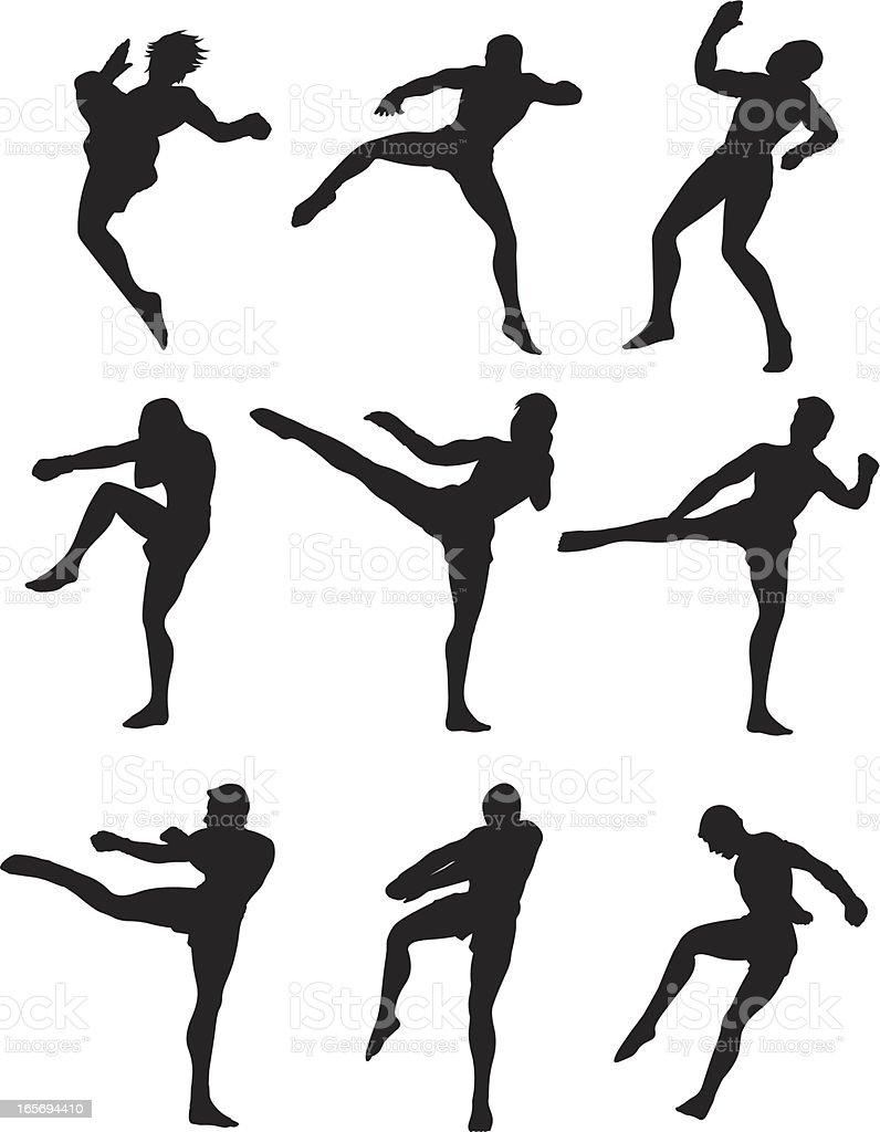 Thai Kick Boxing vector art illustration