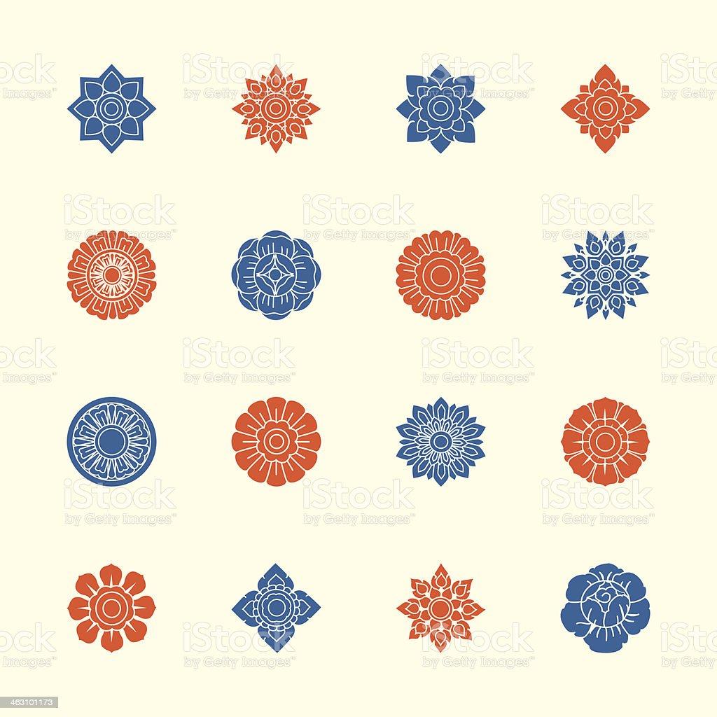 Thai Motifs Flowers Icons Set 1 - Color Series vector art illustration