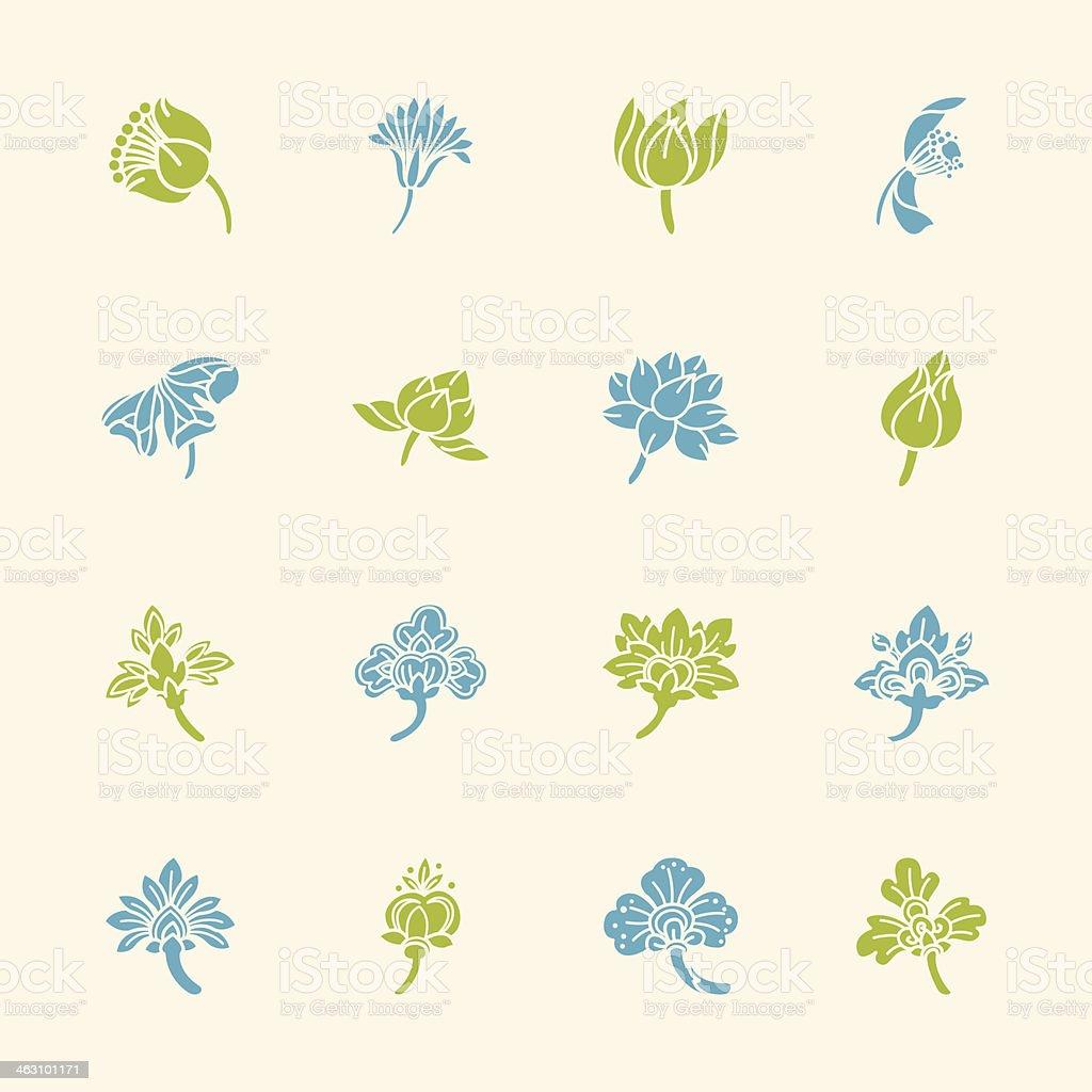 Thai Motifs Flowers Icons Set 2 - Color Series vector art illustration