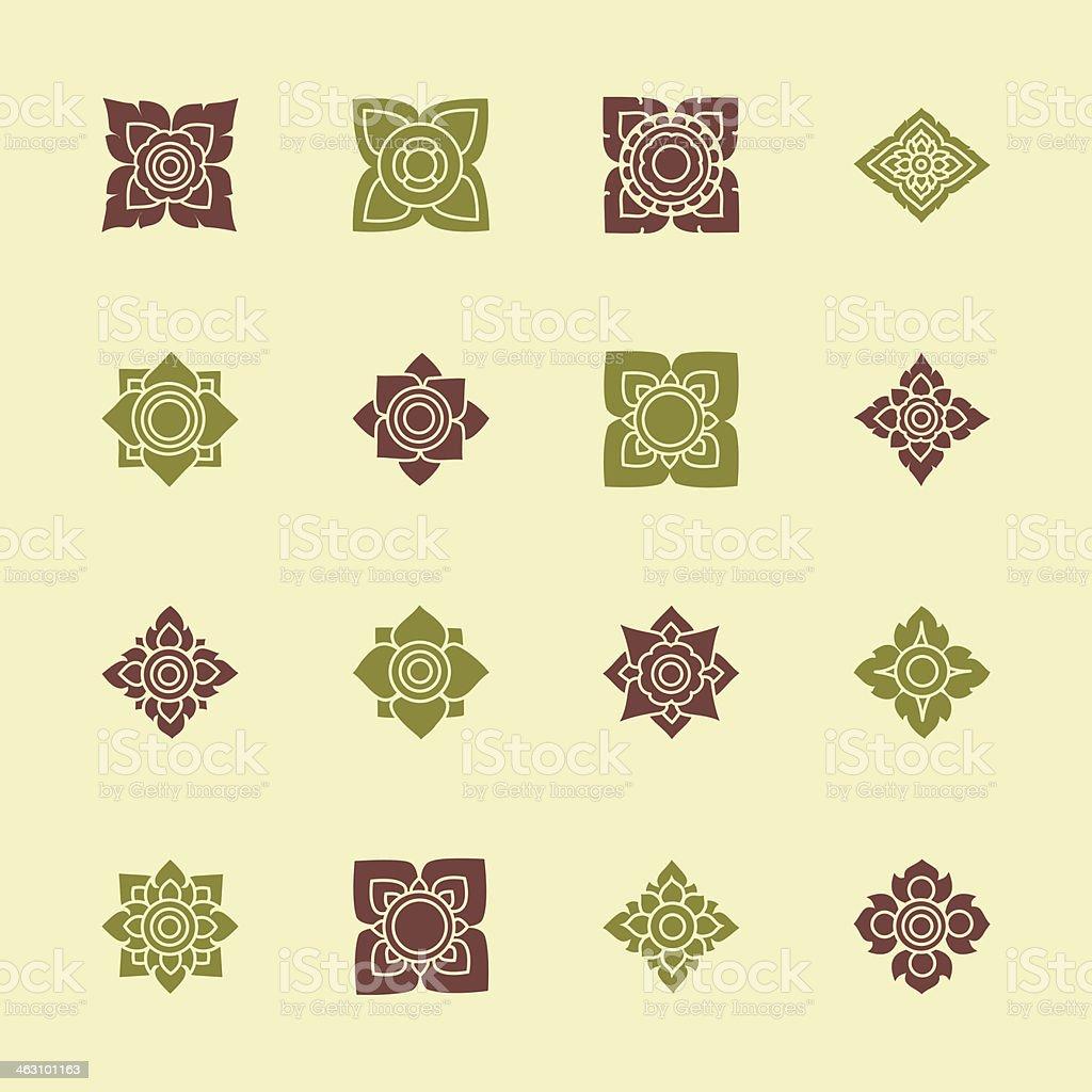 Thai Motifs Flowers Icons Set 3 - Color Series vector art illustration