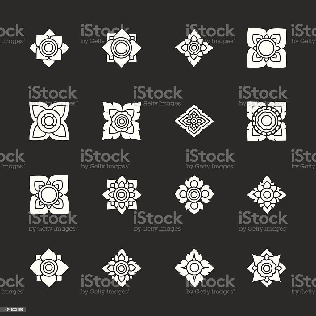 Thai Motifs Flowers Icons Set 3 - White Series vector art illustration