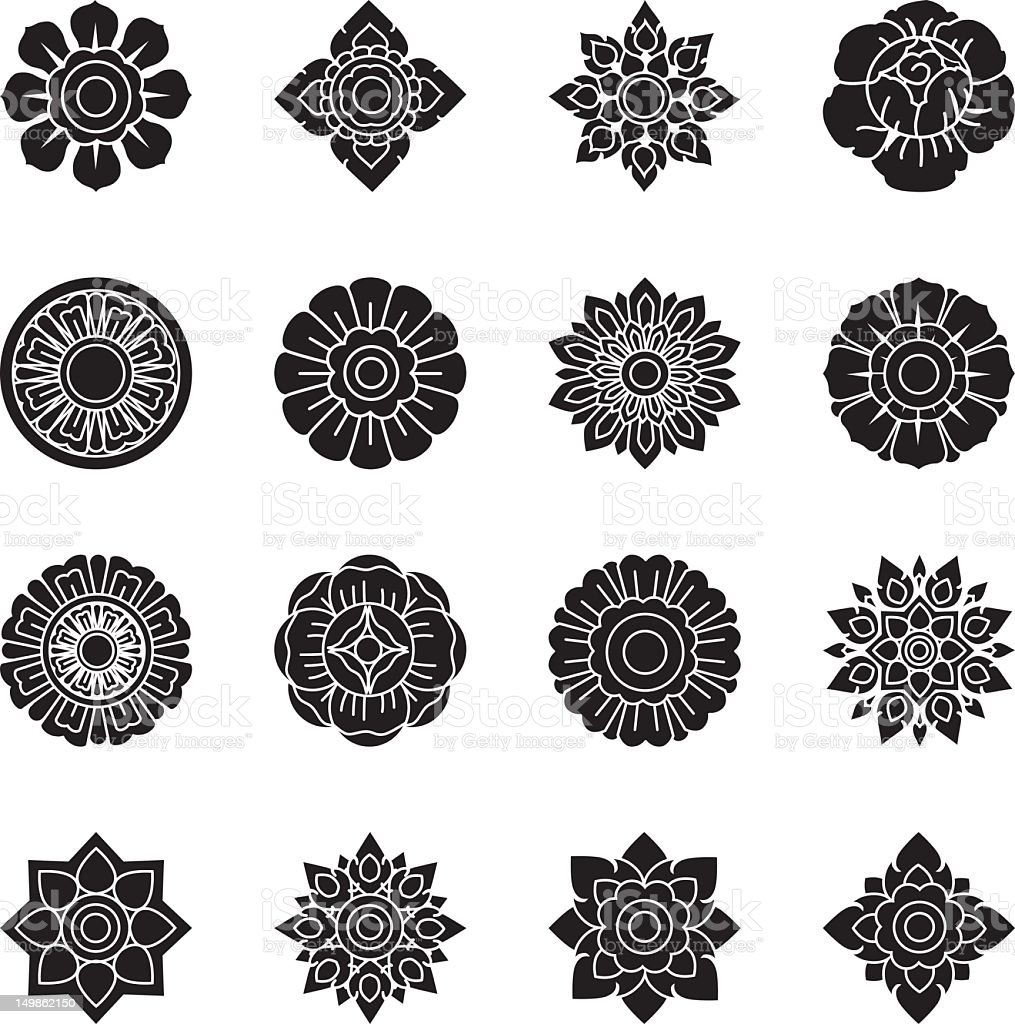 Thai Motifs Flowers Silhouette Icons | Set 1 vector art illustration