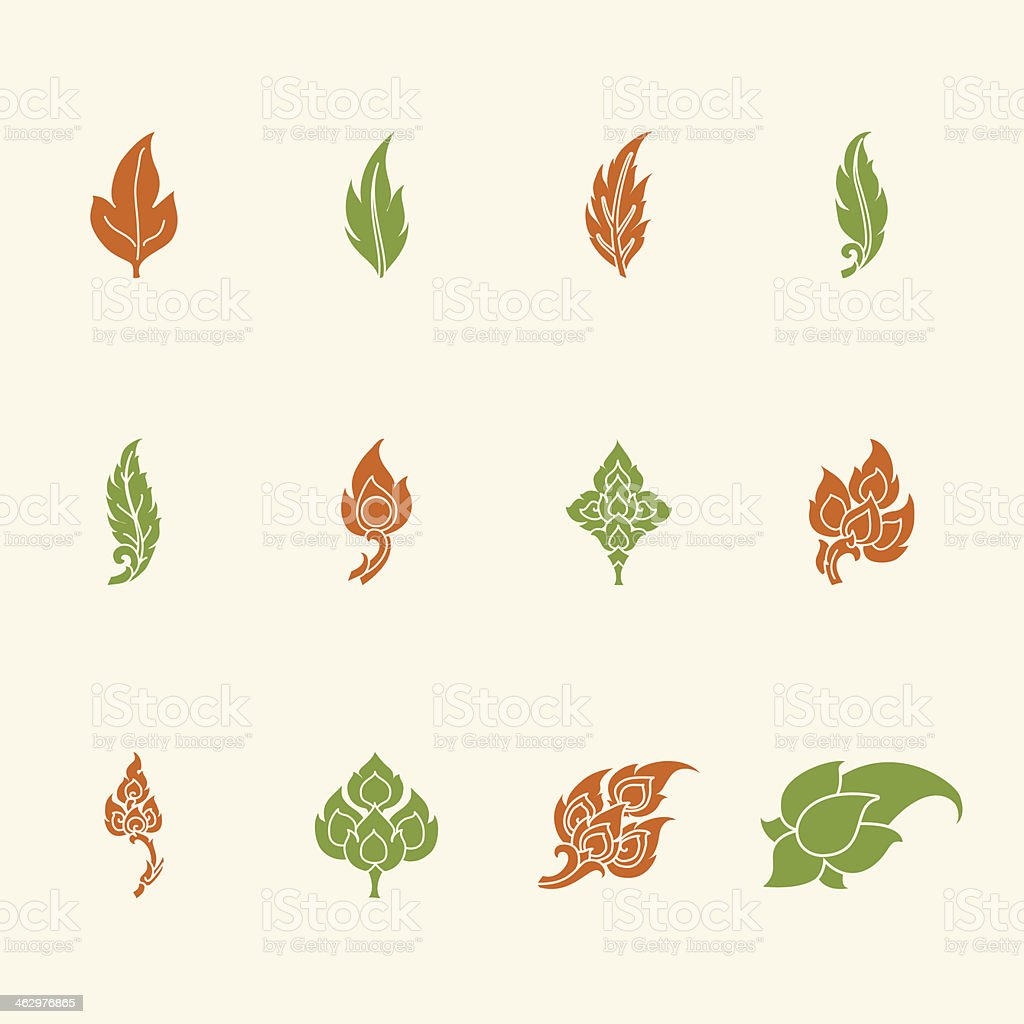 Thai Motifs Leafs Icons - Color Series vector art illustration