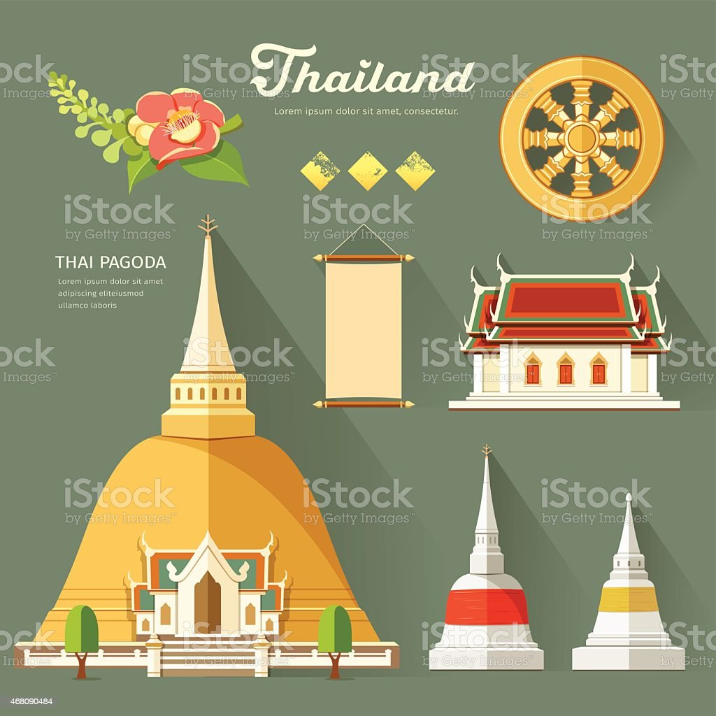 Thai Pagoda with temple, wheel of life, of thailand vector art illustration