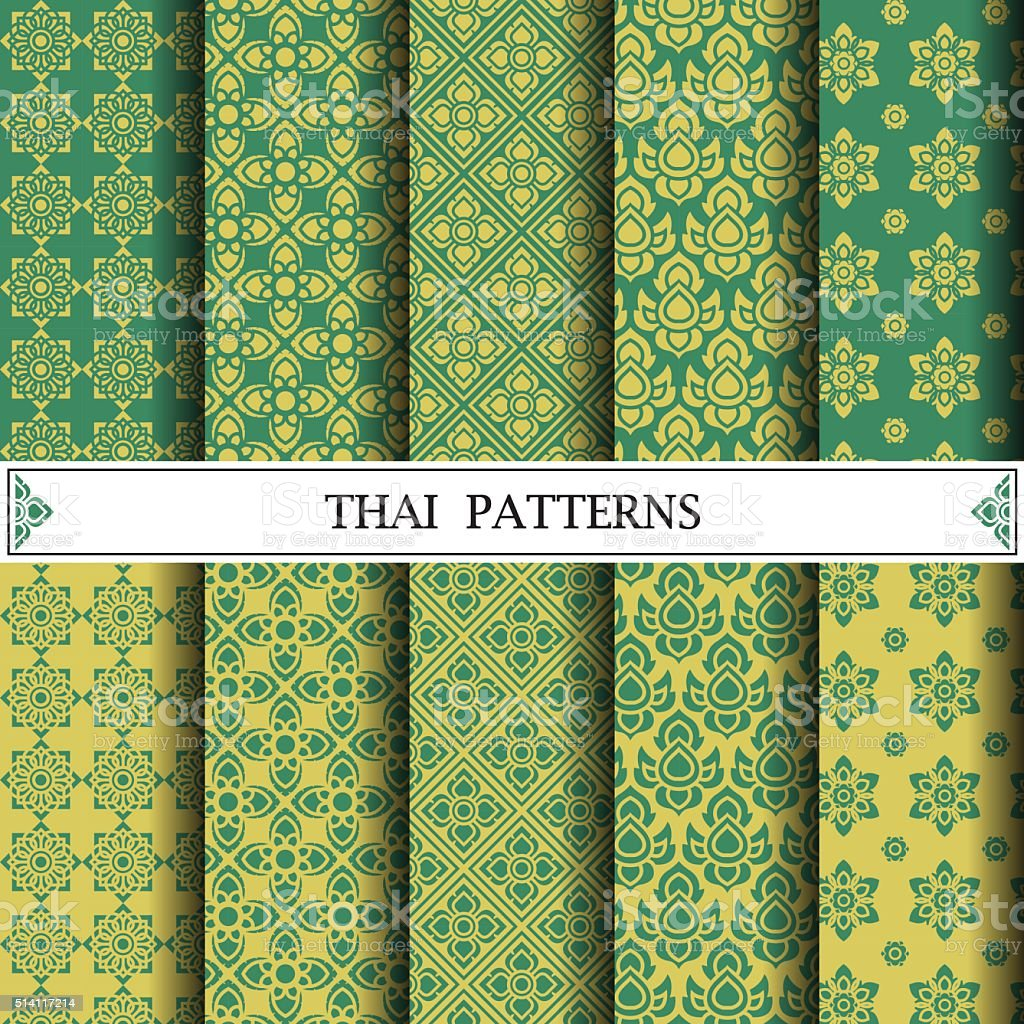 Thai pattern, pattern fills, web page background, surface textur vector art illustration
