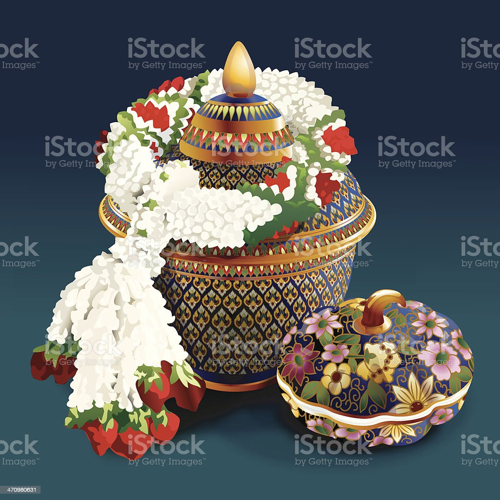 Thai porcelain with designs in five colours royalty-free stock vector art