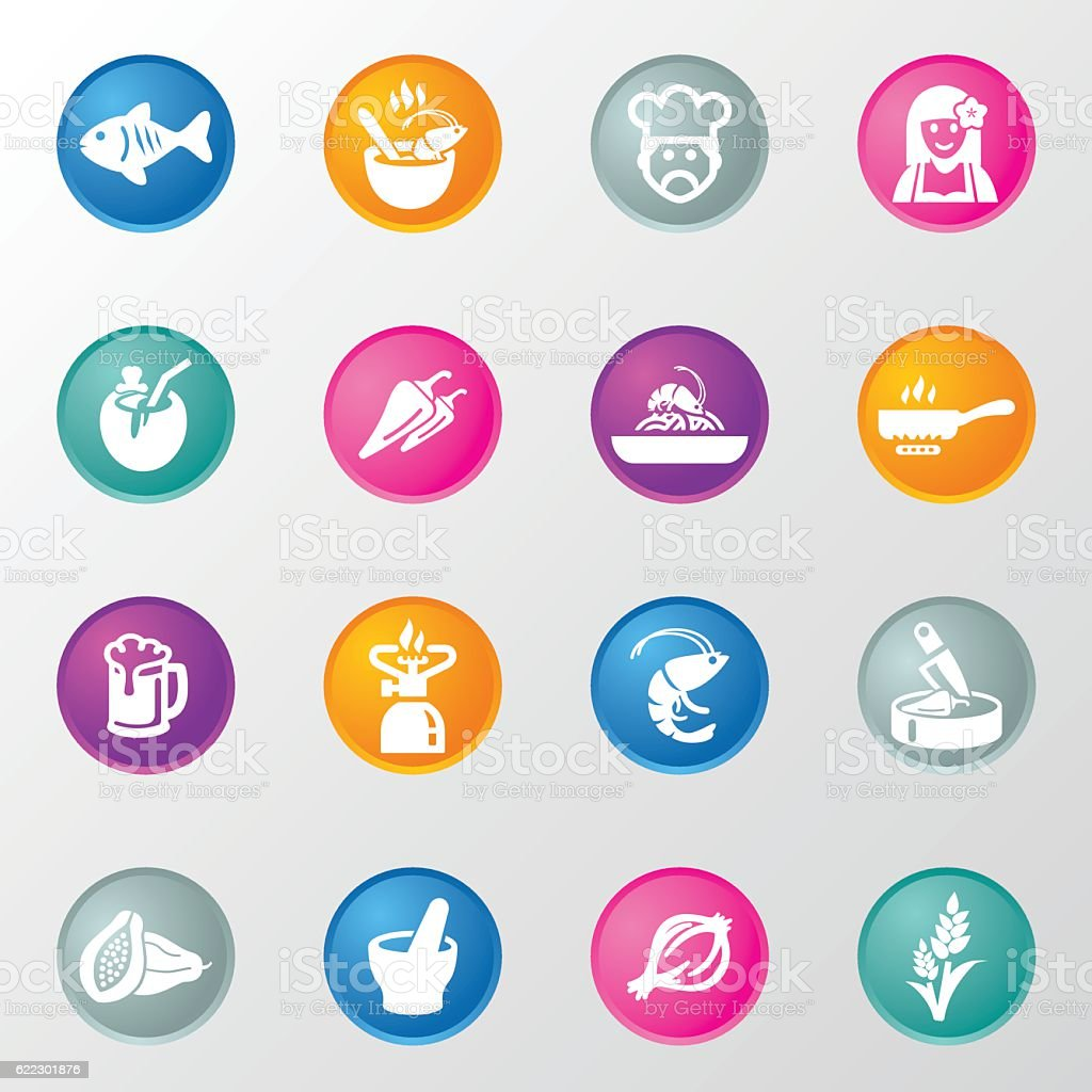 Thai restaurants Circle Color Icons vector art illustration