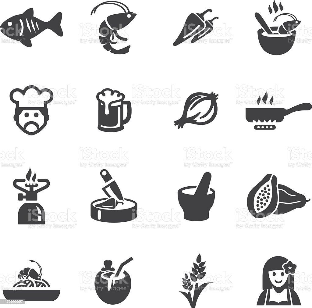 Thai restaurants Silhouette Icons vector art illustration