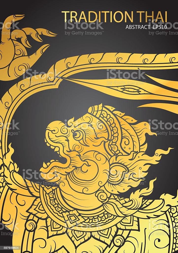Thai tradition Hanuman characters of Ramayana vector art illustration