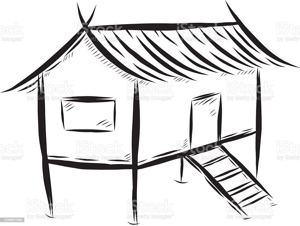 Thai traditional house vector art illustration