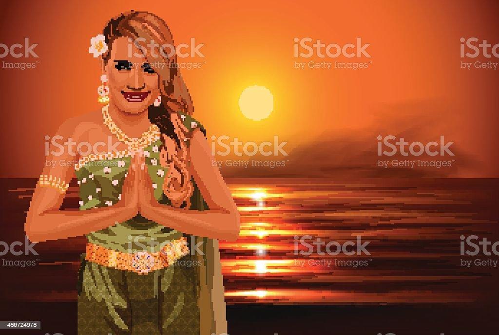 Thai woman on sunset background, typical thai dress. Vector illustration vector art illustration