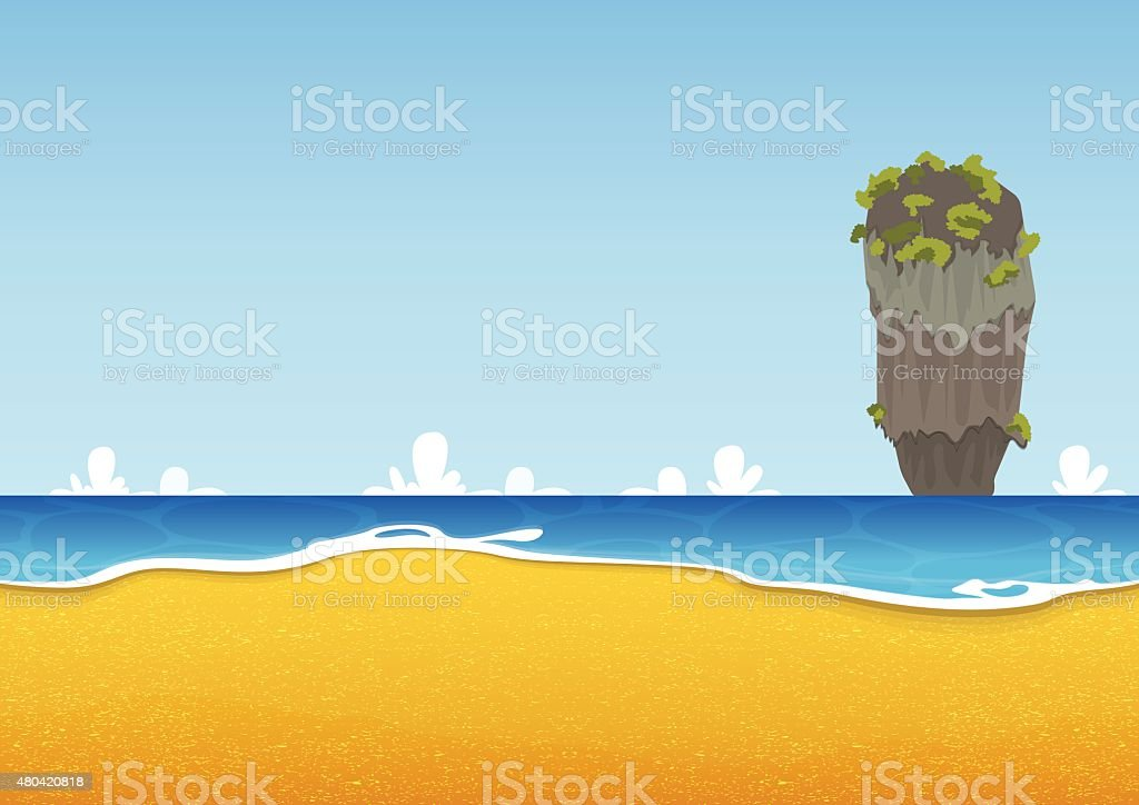 Thailand beach, island, seascape with sea and sand texture. Background. vector art illustration