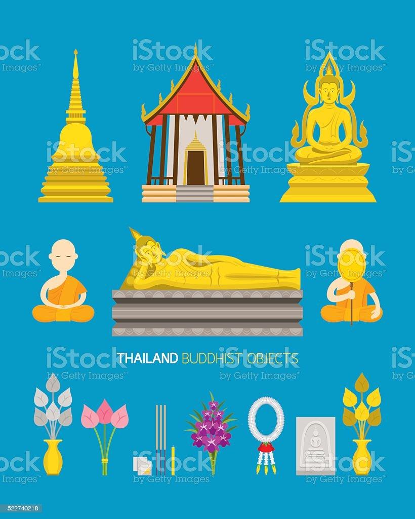 Thailand Buddhist Objects Set vector art illustration