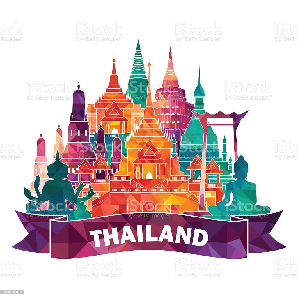 Thailand detailed famous mopnuments. vector art illustration