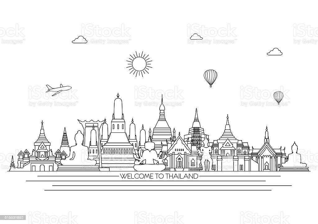 Thailand detailed Skyline.  Vector background. line illustration. Line art style vector art illustration