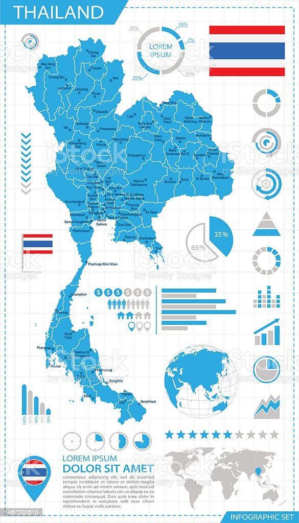Thailand - infographic map - Illustration vector art illustration