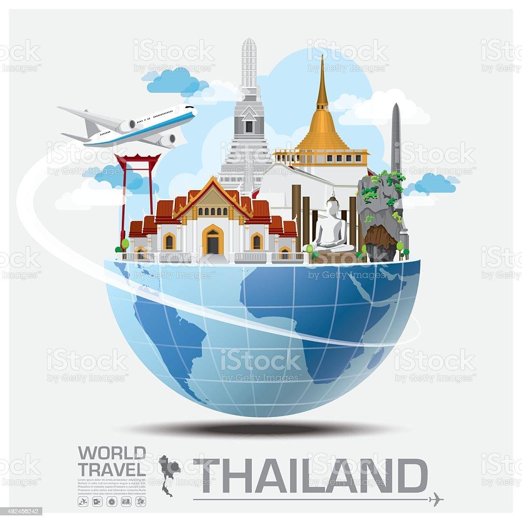 Thailand Landmark Global Travel And Journey Infographic vector art illustration