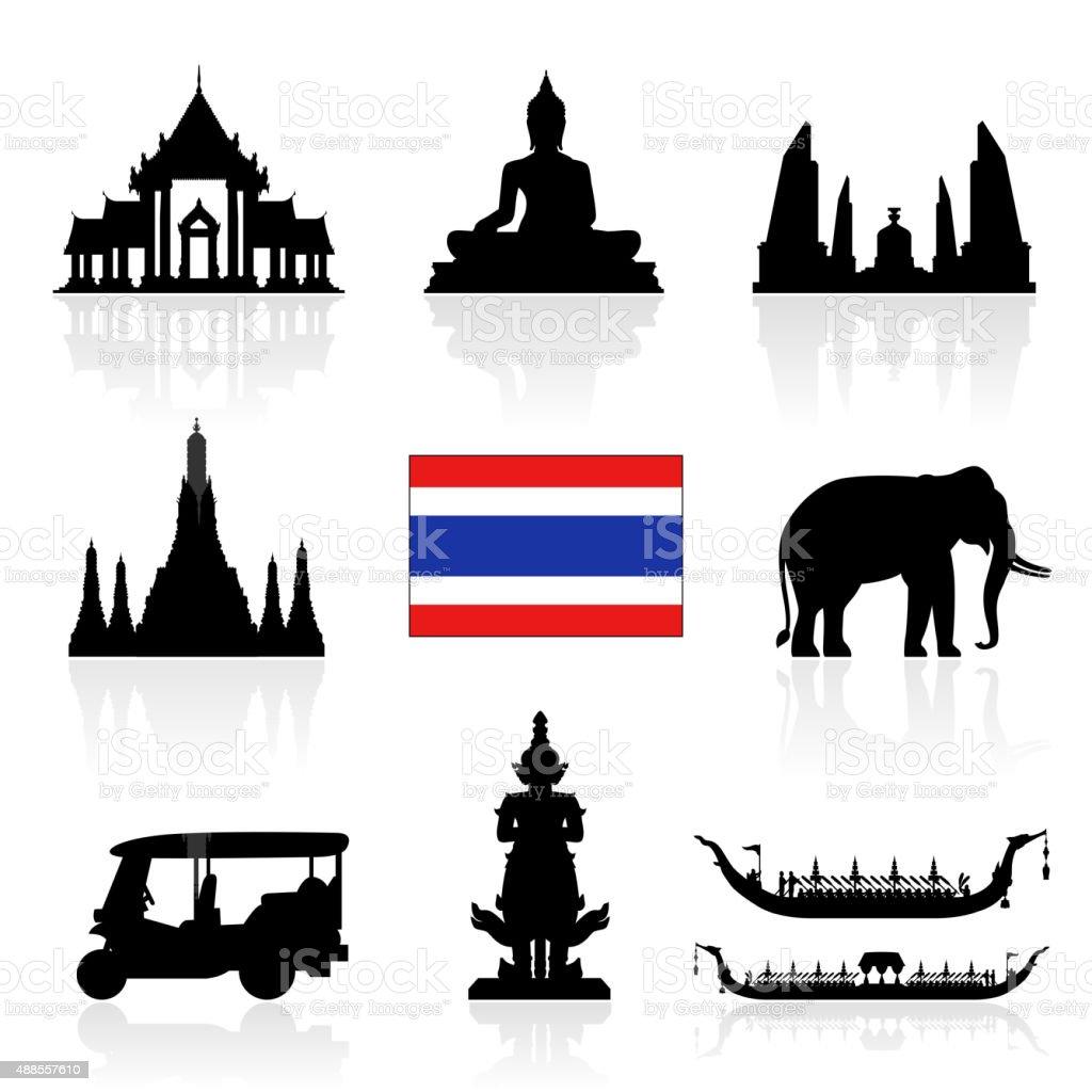 Thailand Landmarks Icon Set. vector art illustration
