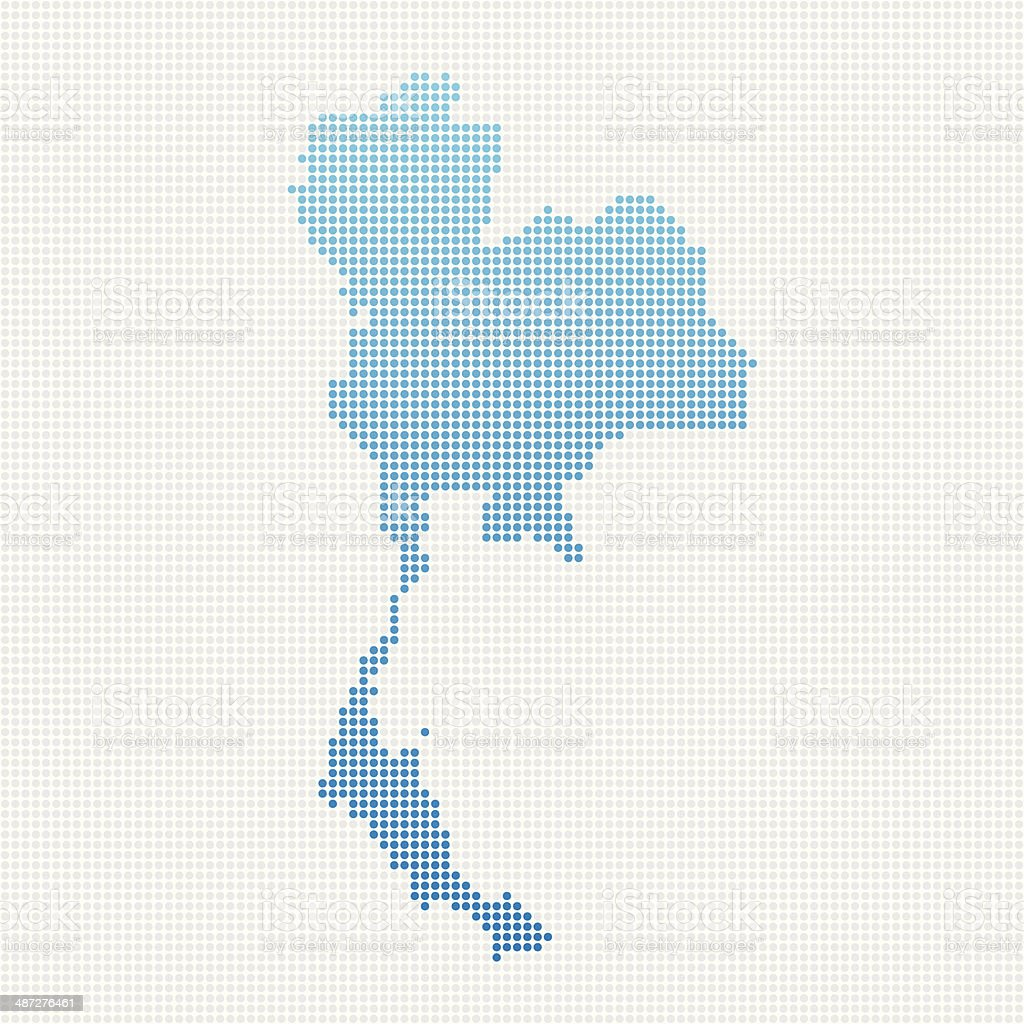 Thailand Map Blue Dot Pattern vector art illustration