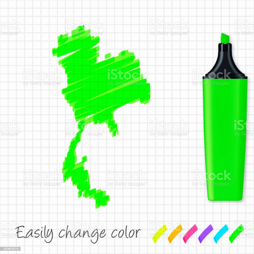 Thailand map hand drawn on grid paper, green highlighter vector art illustration