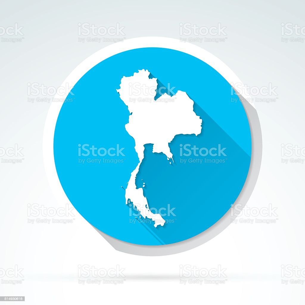 Thailand map icon, Flat Design, Long Shadow vector art illustration