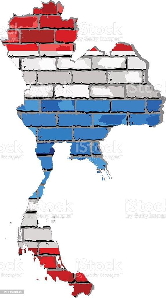 Thailand map on a brick wall vector art illustration